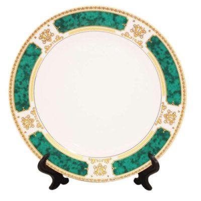 Тарелка керамическая с зеленым ободком